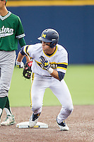 Michigan Wolverines third baseman Jake Bivens (18) runs to third base against the Eastern Michigan Hurons on May 3, 2016 at Ray Fisher Stadium in Ann Arbor, Michigan. Michigan defeated Eastern Michigan 12-4. (Andrew Woolley/Four Seam Images)