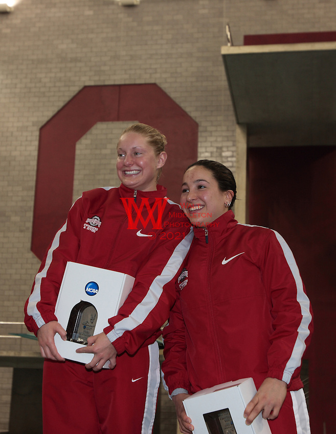 The Ohio State Divers Chelsea Davis & Bianca Alvarez celebrate their first and second place finishes on 3 Meter during the the NCAA Division I National Championships. <br /> McCorkle Aquatic Center, The Ohio State University,
