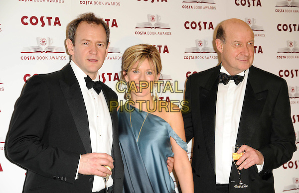 ALEXANDER ARMSTRONG, ANDREA CATHERWOOD & ROGER McGOUGH .2009 Costa Book Awards, Intercontinental Hotel, London, .England, January 27th 2009..half length blue two tone silk satin one shoulder dress ombre dip dye black suit bow tie tuxedo tux wine drink glass .CAP/CAN.©Can Nguyen/Capital Pictures