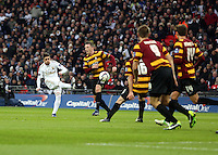 Pictured: Pablo Hernandez (L). Sunday 24 February 2013<br /> Re: Capital One Cup football final, Swansea v Bradford at the Wembley Stadium in London.