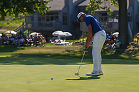 Tony Finau (USA) sinks his putt on 16 during 3rd round of the World Golf Championships - Bridgestone Invitational, at the Firestone Country Club, Akron, Ohio. 8/4/2018.<br /> Picture: Golffile | Ken Murray<br /> <br /> <br /> All photo usage must carry mandatory copyright credit (© Golffile | Ken Murray)