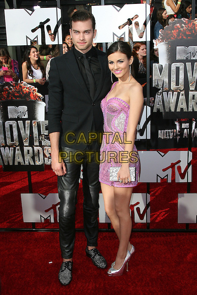 13 April 2014 - Los Angeles, California - Pierson Fode, Victoria Justice. 2014 MTV Movie Awards held at Nokia Theatre L.A. Live. <br /> CAP/ADM<br /> &copy;AdMedia/Capital Pictures