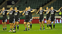 Rugby Union. Twickenham, England. Black Ferns perform the Haka during the QBE international match between England and New Zealand Black Ferns at Twickenham Stadium on December 01, 2012 in Twickenham, England.