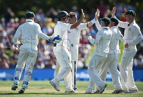 20.02.2016. Christchurch, New Zealand.  Australian players celebrate the wicket of Guptill. New Zealand Black Caps versus Australia. Day 1, 2nd test match, Hagley Oval in Christchurch, New Zealand. Saturday 20 February 2016.