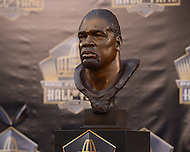 Canton, Ohio - August 8, 2015: The bust of Hall of Fame inductee Charles Haley is displayed before Haley's photo op in Canton, Ohio, August 8, 2015. At the time of his induction, Haley is the  only player in NFL history to have played on five winning Super Bowl teams. (Photo by Don Baxter/Media Images International)