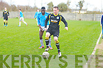Tralee Celtic's Barry Leahy keeps Precession from Valley Wanderers Seun O'Sinub in the  Division 2 B Tralee Celtic against Valley Wanderers match at Mounthawk Park on Sunday