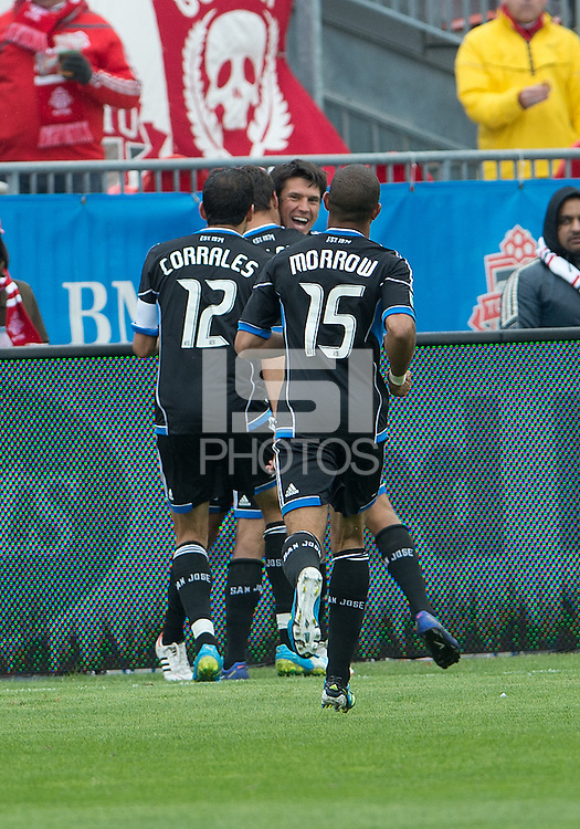 24 March 2012: San Jose Earthquakes midfielder Shea Salinas #6 celebrates a goal during the second half in a game between the San Jose Earthquakes and Toronto FC at BMO Field in Toronto..The San Jose Earthquakes won 3-0..