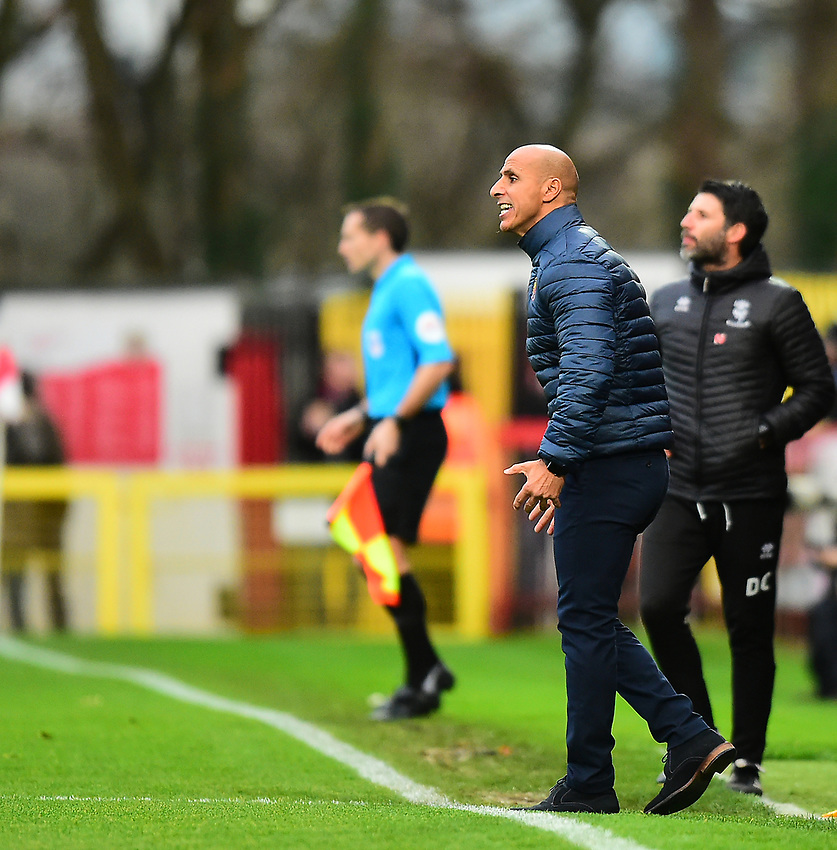 Stevenage manager Dino Maamria shouts instructions to his team from the technical area<br /> <br /> Photographer Andrew Vaughan/CameraSport<br /> <br /> The EFL Sky Bet League Two - Stevenage v Lincoln City - Saturday 8th December 2018 - The Lamex Stadium - Stevenage<br /> <br /> World Copyright © 2018 CameraSport. All rights reserved. 43 Linden Ave. Countesthorpe. Leicester. England. LE8 5PG - Tel: +44 (0) 116 277 4147 - admin@camerasport.com - www.camerasport.com