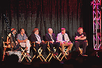 Steven Goldstein, Tom Douglas, Hugo Matheson, Alan Jackson, and David Burke attend a panel at the Restaurant High Summit.