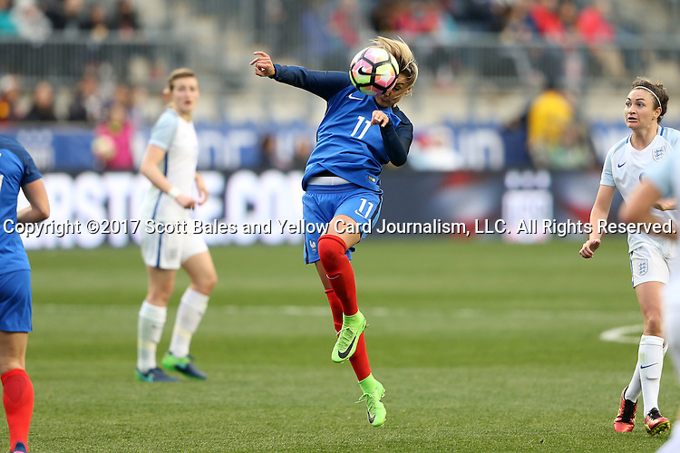 CHESTER, PA - MARCH 01: Claire Lavogez (FRA). The England Women's National Team played the France Women's National Team as part of the She Believes Cup on March, 1, 2017, at Talen Engery Stadium in Chester, PA. The France won the game 2-1.