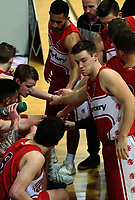 The Canterbury team huddles during the 2017 Under-23 National Basketball Championship men's final between Waikato Country (blue) and Canterbury at Te Rauparaha Arena in Porirua, New Zealand on Saturday, 5 August 2017. Photo: Dave Lintott / lintottphoto.co.nz