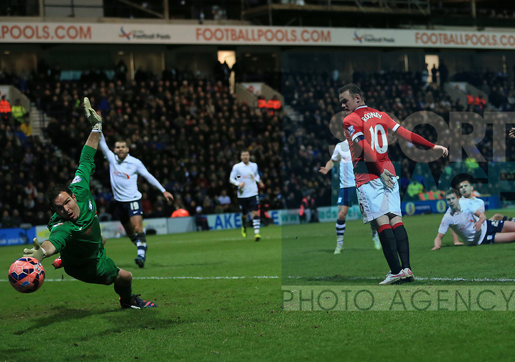 Preston's Thorsten Stuckmann fails to stop Manchester United's Ander Herrera's goal<br /> <br /> FA Cup - Preston North End vs Manchester United  - Deepdale - England - 16th February 2015 - Picture David Klein/Sportimage