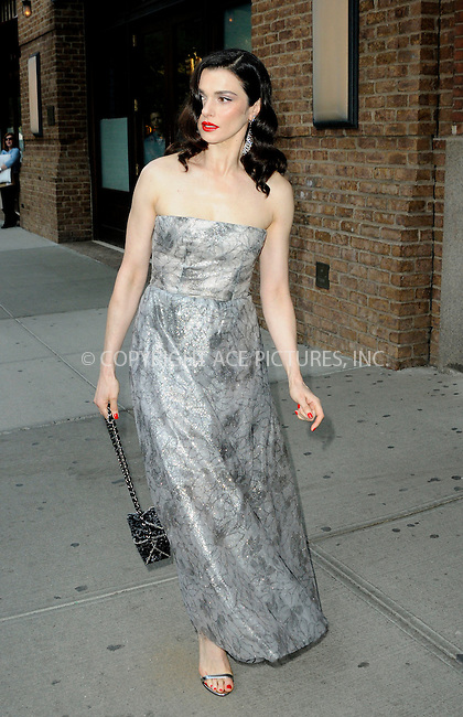 WWW.ACEPIXS.COM<br /> <br /> May 4 2015, New York City<br /> <br /> Actress Rachel Weisz leaves a downtown hotel on her way to the Met Gala on May 4 2015 in New York City<br /> <br /> By Line: Curtis Means/ACE Pictures<br /> <br /> <br /> ACE Pictures, Inc.<br /> tel: 646 769 0430<br /> Email: info@acepixs.com<br /> www.acepixs.com