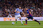 Paco Alcacer Garcia of FC Barcelona (R) fights for the ball with Raul Rodriguez Navas of Real Sociedad (L) during the La Liga match between Barcelona and Real Sociedad at Camp Nou on May 20, 2018 in Barcelona, Spain. Photo by Vicens Gimenez / Power Sport Images