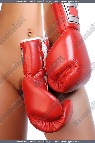Young nude woman with red boxing gloves. Isolated on white background.