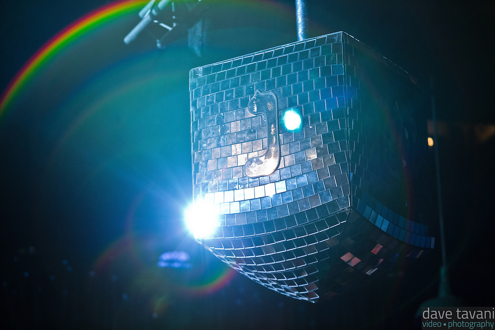 """A giant disco dradle spins reflecting light at Matisyahu's """"Festival of Light"""" tour at the Electric Factory in Philadelphia, December 12, 2012."""