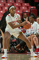 COLLEGE PARK, MD - NOVEMBER 20: Kaila Charles #5 of Maryland controls the ball during a game between George Washington University and University of Maryland at Xfinity Center on November 20, 2019 in College Park, Maryland.