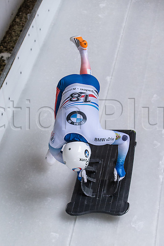 February 24th 2017,  Berchtesgaden - Konigssee, Germany; Action from the Men's Skeleton Runs 1 and 2, Egor VESELOV RUS