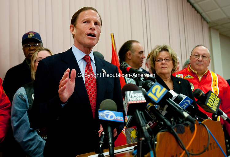 WEST HARTFORD, CT- MAY 17 2010-051710JS04-Connecticut Attorney General and U.S. Senate candidate Richard Blumenthal, addresses reporters about his military record during a press conference Tuesday at the Hannon-Hatch VFW Post 9929 in West Hartford. Blumenthal addressed a report that he had misstated his military service during the Vietnam War. <br /> Jim Shannon Republican-American