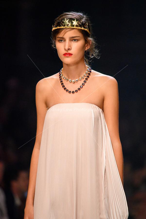 7 March 2018, Melbourne - Models showcase designs by Rachel Gilbert during the Runway 3 show presented by Harper's Bazaar at the 2018 Virgin Australia Melbourne Fashion Festival in Melbourne, Australia. (Photo Sydney Low / asteriskimages.com)