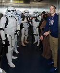 "Aces President Eric Edelstein enters an elevator with Storm Troopers during the Reno Aces ""Star Wars Night"" in Reno on Saturday, June 8, 2019."