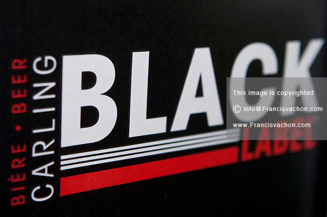 Black Label beer logo is seen on a beer box on display in a convenient store in Quebec City February 26, 2009