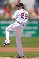 Starting pitcher Kyle Weiland #29 of the Pawtucket Red Sox during a game versus the Lehigh Valley Iron Pigs on June 19, 2011 at McCoy Stadium in Pawtucket, Rhode Island.(Ken Babbitt/Four Seam Images)
