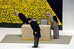 August 15, 2013, Tokyo, Japan - Emperor Akihito, left, accompanied by Empress Michiko and Prime Minister Shinzo Abe, foreground, takes a deep bow to the altar during a ceremony in Tokyo marking the 68th anniversary of Japan's surrender in World War II on Thursday, August 15, 2013. (Photo by Kaku Kurita/AFLO)