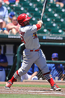 Memphis Redbirds catcher Michael McKenry (48) swings during the Pacific Coast League game against the Iowa Cubs at Principal Park on June 7, 2016 in Des Moines, Iowa.  Iowa won 6-5.  (Dennis Hubbard/Four Seam Images)
