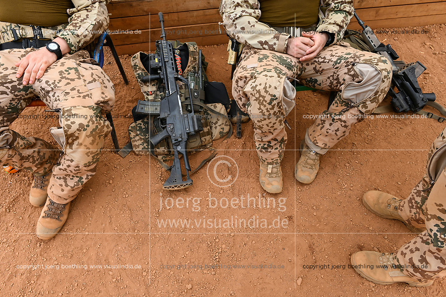 MALI, Gao, Minusma UN peace keeping mission, Camp Castor, german army Bundeswehr, HK Heckler and Koch machine gun G36 / Sturmgewehr Heckler und Koch G 36