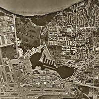 aerial photo map of the Lake Hood Seaplane Base and a portion of the Ted Stevens Anchorage International Airport (ANC) , Anchorage, Alaska