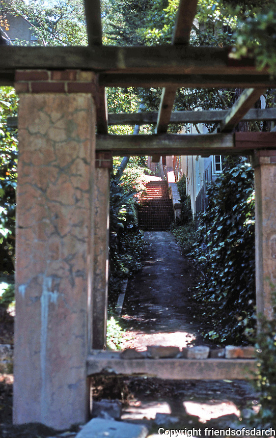Berkeley CA:  A hillside walk, south of Rose Walk, Euclid.  Photo '78.