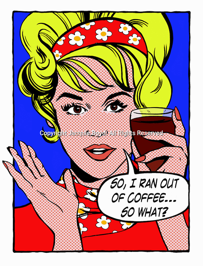Pop art comic of woman holding glass of red wine talking ExclusiveImage