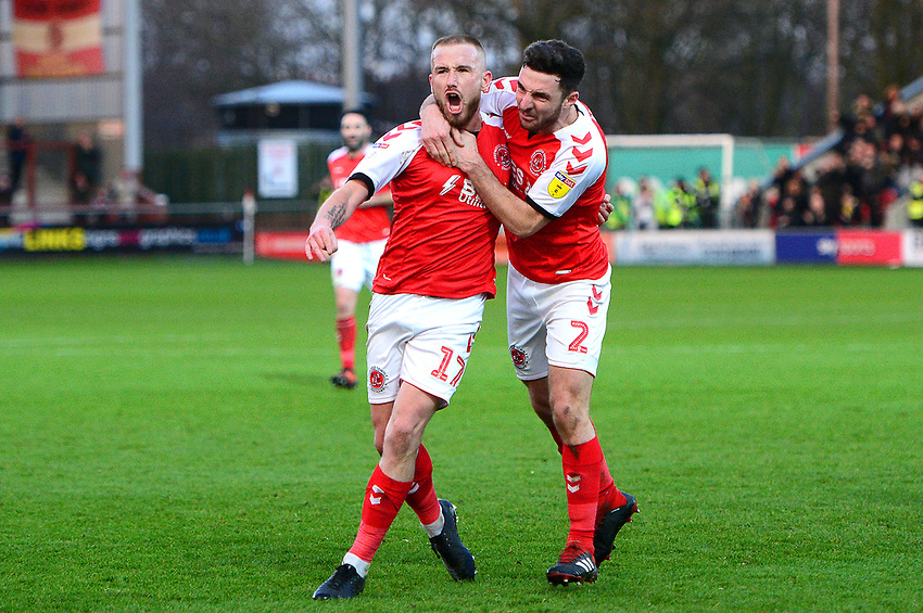 Fleetwood Town's Paddy Madden celebrates scoring his side's first goal with Lewis Coyle<br /> <br /> Photographer Richard Martin-Roberts/CameraSport<br /> <br /> The EFL Sky Bet League One - Fleetwood Town v Portsmouth - Saturday 29th December 2018 - Highbury Stadium - Fleetwood<br /> <br /> World Copyright © 2018 CameraSport. All rights reserved. 43 Linden Ave. Countesthorpe. Leicester. England. LE8 5PG - Tel: +44 (0) 116 277 4147 - admin@camerasport.com - www.camerasport.com