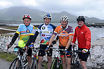 Jimmy Galvin, Tony Daly, Bertie Christian and Rory O'Driscoll from Sneem pictured at the half way break at Kilmackillogue Harbour in County Kerry whilst taking part in the annual Sneem Cycle, &ldquo;Wild Atlantic Challenge Charity Cycle&rdquo; in aid of Breakthrough Cancer Research at the weekend.<br /> Photo Don MacMonagle<br /> <br /> repro free photo<br /> Further info: Ann O'Sullivan ann@breakthroughcancerresearch.ie