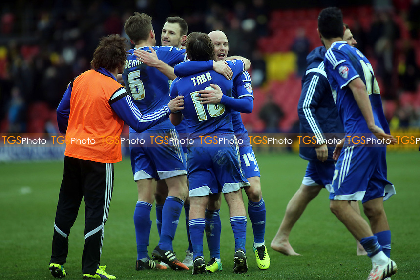 Ipswich Town's Jay Tabb hugs Richard Chaplow at the final whistle after scoring their late winning goal - Watford vs Ipswich Town - Sky Bet Championship Football at Vicarage Road Stadium, Watford, Hertfordshire - 21/03/15 - MANDATORY CREDIT: Paul Dennis/TGSPHOTO - Self billing applies where appropriate - contact@tgsphoto.co.uk - NO UNPAID USE