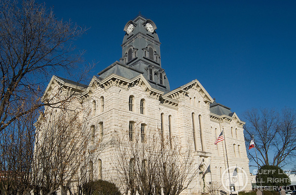 Finished in 1891, the Hood County Courthouse sits in the downtown square of Granbury, Texas.