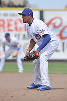Iowa Cubs first baseman Jeimer Candelario (35) in action during a game against the Round Rock Express at Principal Park on April 16, 2017 in Des  Moines, Iowa.  The Cubs won 6-3.  (Dennis Hubbard/Four Seam Images)