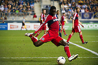 Jalil Anibaba (6) of the Chicago Fire. The Chicago Fire defeated the Philadelphia Union 3-1 during a Major League Soccer (MLS) match at PPL Park in Chester, PA, on August 12, 2012.
