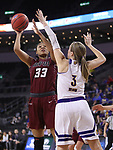 SIOUX FALLS, SD: MARCH 7: Mikale Rogers #3 of IUPUI photos over Olivia Braun #3 of Western Illinois during the Women's Summit League Basketball Championship Game on March 7, 2017 at the Denny Sanford Premier Center in Sioux Falls, SD. (Photo by Dick Carlson/Inertia)