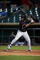 Visalia Rawhide second baseman Luis Alejandro Basabe (35) at bat during a California League game against the Lancaster JetHawks at The Hangar on May 17, 2018 in Lancaster, California. Lancaster defeated Visalia 11-9. (Zachary Lucy/Four Seam Images)