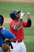 Erie SeaWolves left fielder Christin Stewart (35) points skyward as he crosses home plate after hitting a home run in the bottom of the fifth inning during a game against the Hartford Yard Goats on August 6, 2017 at UPMC Park in Erie, Pennsylvania.  Erie defeated Hartford 9-5.  (Mike Janes/Four Seam Images)