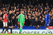 5th November 2017, Stamford Bridge, London, England; EPL Premier League football, Chelsea versus Manchester United; Tiemoue Bakayoko of Chelsea is shown a yellow card for a late challenge on Jones