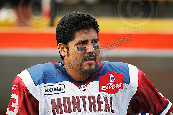 June 26, 2008; Hamilton, ON, CAN; Montreal Alouettes quarterback Anthony Calvillo (13). CFL football - Montreal Alouettes defeated the Hamilton Tiger-Cats 33-10 at Ivor Wynne Stadium. Mandatory Credit: Ron Scheffler-www.ronscheffler.com. Copyright (c) Ron Scheffler
