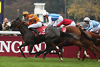 October 07, 2018, Longchamp, FRANCE - Lily's Candle with Pierre-Charles Boudot up winning the Qatar Prix Marcel Boussac (Gr. I) at  ParisLongchamp Race Course  [Copyright (c) Sandra Scherning/Eclipse Sportswire)]