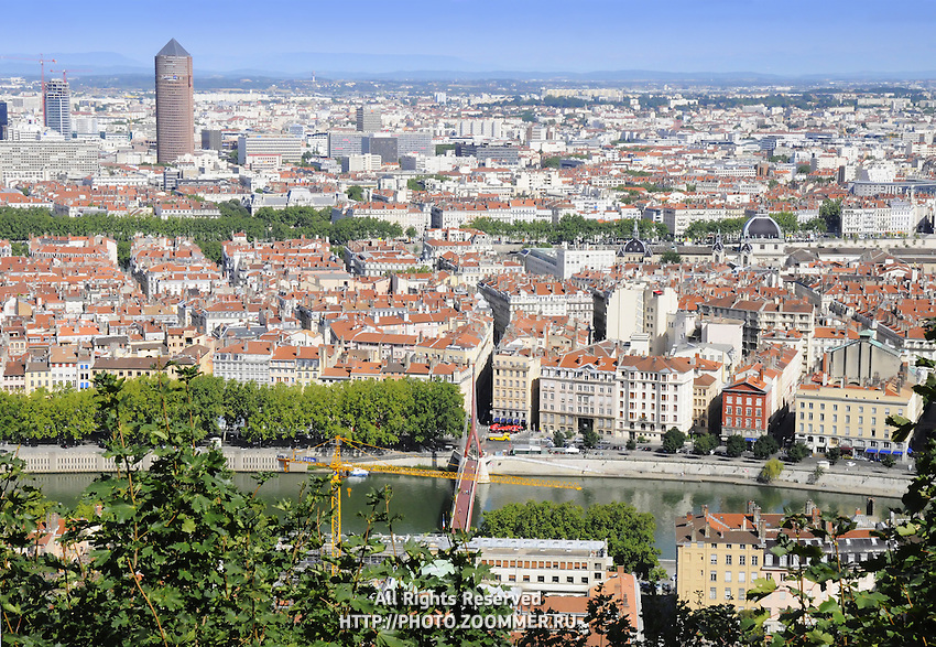 View of Lyon and bridge over river Rhone, France