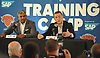 Scott Perry, New York Knicks General Manager, right, and Steve Mills, Knicks President, speak during the team's Media Day held at Madison Square Garden Training Center in Greenburgh, NY on Monday, Sept. 25, 2017.