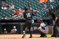 Austin Martin (16) of the Vanderbilt Commodores at bat against the Sam Houston State Bearkats in game one of the 2018 Shriners Hospitals for Children College Classic at Minute Maid Park on March 2, 2018 in Houston, Texas. The Bearkats walked-off the Commodores 7-6 in 10 innings.   (Brian Westerholt/Four Seam Images)