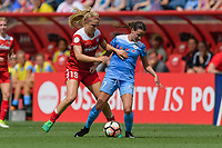 Bridgeview, IL - Saturday June 17, 2017: Kristie Mewis, Taylor Comeau during a regular season National Women's Soccer League (NWSL) match between the Chicago Red Stars and the Washington Spirit at Toyota Park. The match ended in a 1-1 tie.