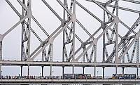 The Howrah Bridge at Calcutta (Kolkata) in West Bengal in India.